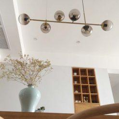 đèn chùm trang trí 6 bóng chao thủy tinh tròn hiện đại